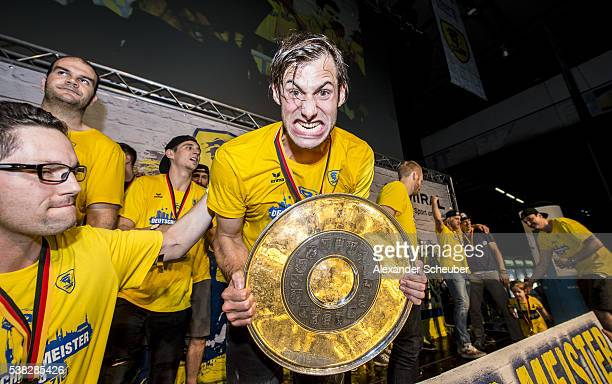 Uwe Gensheimer of RheinNeckar Loewen celebrate during the celebration party of winning the DKB Handball Bundesliga at Friedrichspark on June 5 2016...