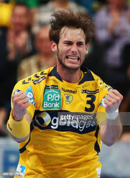 Uwe Gensheimer of RheinNeckar Loewen celebrates a goal during the DKB Handball Bundesliga match between RheinNeckar Loewen and HSV Hamburg at SAP...