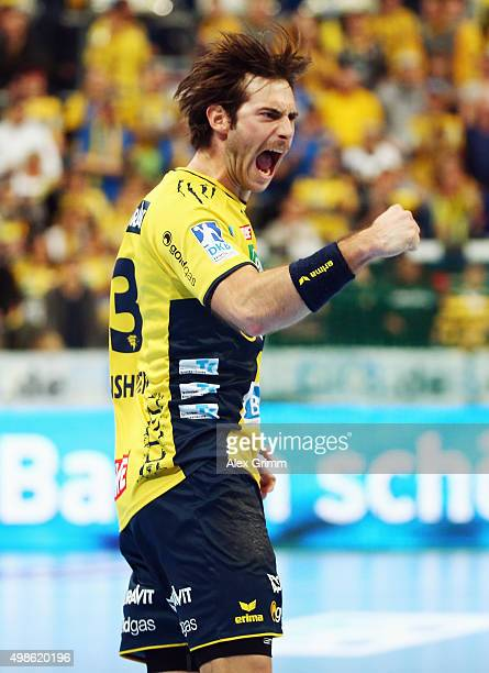Uwe Gensheimer of RheinNeckar Loewen celebrates a goal during the DKB HBL Bundesliga match between RheinNeckar Loewen and Fuechse Berlin at SAP Arena...