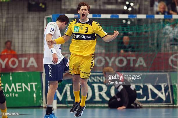Uwe Gensheimer of RheinNeckar Loewen celebrates a goal during the Toyota Handball Bundesliga match between Rhein Neckar Loewen and HSV Hamburg at SAP...