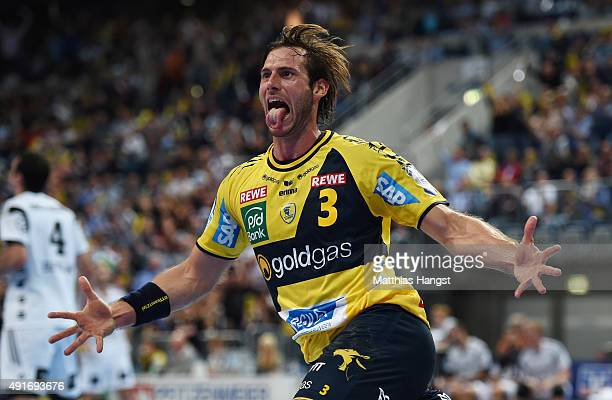 Uwe Gensheimer of RheinNeckar Loewen celebrates during the DKB HBL Bundesliga match between Rhein Neckar Loewen and THW Kiel at SAP Arena on October...