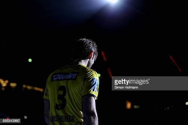 Uwe Gensheimer of RheinNeckar Loewen reacts during his farewell after the DKB Handball Bundesliga match between RheinNeckar Loewen and TSV...