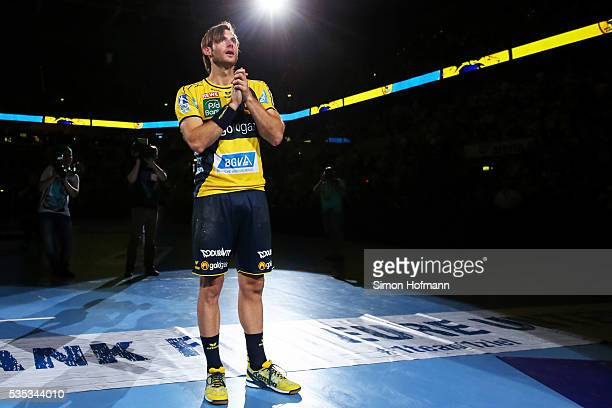 Uwe Gensheimer of RheinNeckar Loewen reacts during his farewell after the DKB Handball Bundesliga match between RheinNeckar Loewen and TSV...