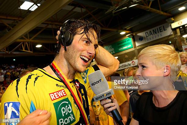 Uwe Gensheimer of RN Loewen during an interview with Anett Sattler of SPORT 1 after winning the German Championships after the DKB Handball...