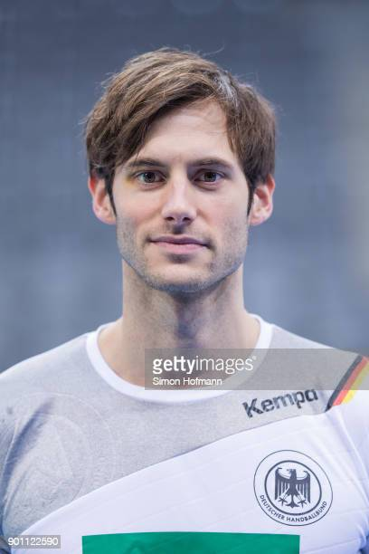 Uwe Gensheimer poses during the Germany Handball Media Access at Porsche Arena on January 4 2018 in Stuttgart Germany