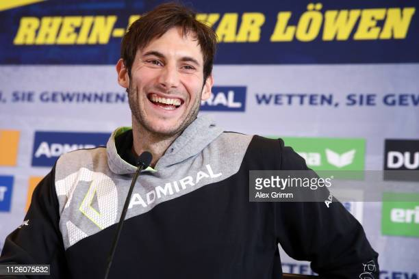 Uwe Gensheimer smiles during the RheinNeckar Loewen press conference at SAPArena on January 30 2019 in Mannhein Germany