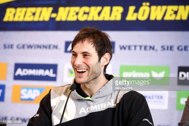 Uwe Gensheimer speaks during the RheinNeckar Loewen press conference at SAPArena on January 30 2019 in Mannhein Germany