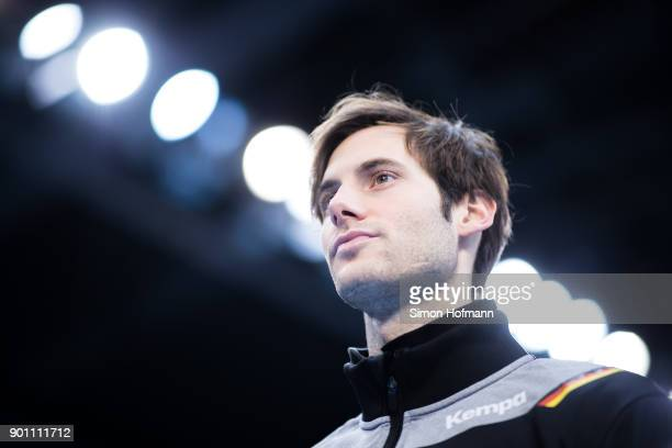 Uwe Gensheimer speaks to media during the Germany Handball Media Access at Porsche Arena on January 4 2018 in Stuttgart Germany