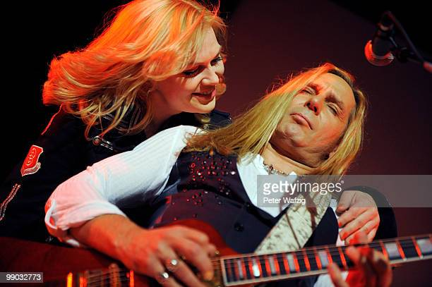 Uwe Hassbecker and Anna Loos of Silly perform on stage at the Gloria on May 11 2010 in Cologne Germany