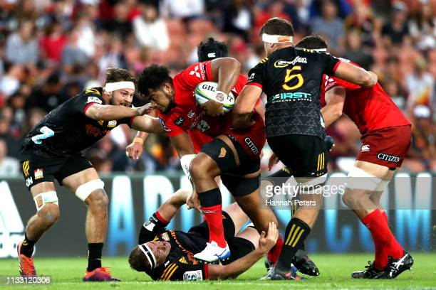 Uwe Helu of the Sunwolves charges forward during the round three Super Rugby match between the Chiefs and the Sunwolves at FMG Stadium Waikato on...