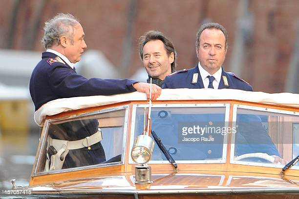 Uwe Kockisch and Nico Benetti are seen on The 'Commissario Brunetti' TV Series Set on November 5 2012 in Venice Italy
