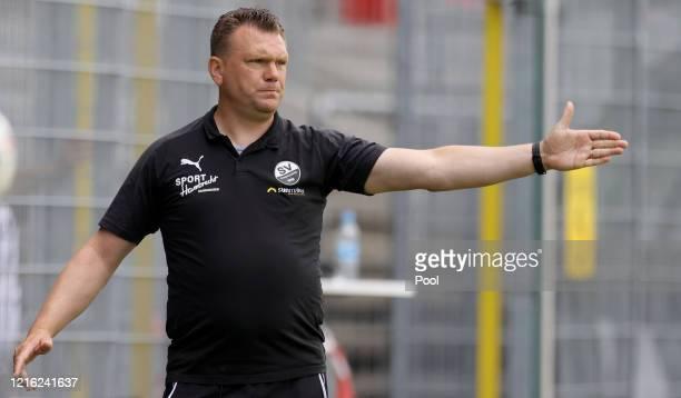 Uwe Koschinat Manager of Sandhausen reacts during the Second Bundesliga match between SV Sandhausen and Hannover 96 at BWTStadion am Hardtwald on May...