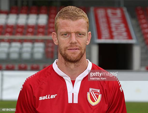 Uwe Moehrle poses during the FC Energie Cottbus team presentation at Stadion der Freundschaft on July 8 2014 in Cottbus Germany