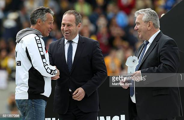 Uwe Neuhaus head coach of Dresden is honored as coach of the season 2015/2016 by Peter Frymuth and Ulf Schott of the DFB after the third league match...