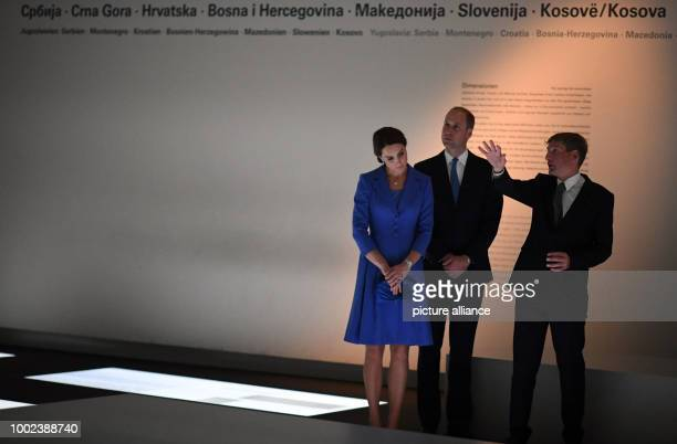 Uwe Neumaerker director of the Stiftung Denkmal für die ermordeten Juden Europas guides and his wife CatherineDuchess of Cambridge around the museum...