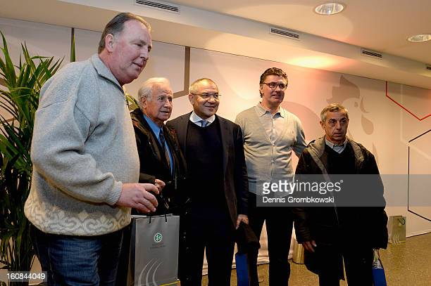 Uwe Reinders Michel Hidalgo Felix Magath Wilfried Hannes and Alain Giresse pose during a meeting of the 1982 World Cup teams of France and Germany on...