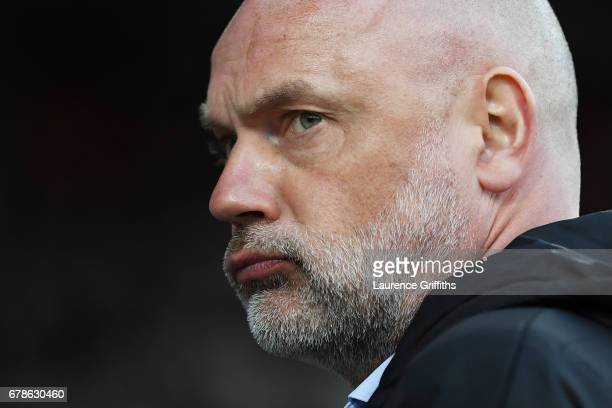 Uwe Rosler manager of Fleetwood Town looks on prior to the Sky Bet League One playoff semi final first leg match between Bradford City and Fleetwood...