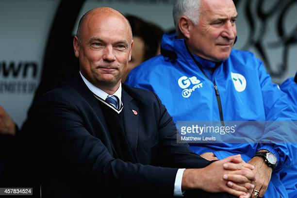 Uwe Rosler manager of Wigan Athleic looks on during the Sky Bet Championship match between Derby County and Wigan Athletic at the iPro Stadium on...
