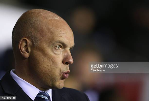 Uwe Rosler of Wigan looks on during the Sky Bet Championship match between Wigan Athletic and Millwall at DW Stadium on October 21 2014 in Wigan...