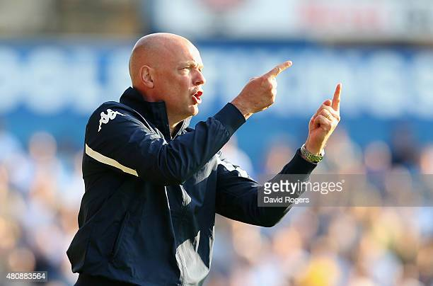 Uwe Rosler the Leeds United manager issues instructions during the pre season friendly match between York City and Leeds United at Bootham Crescent...