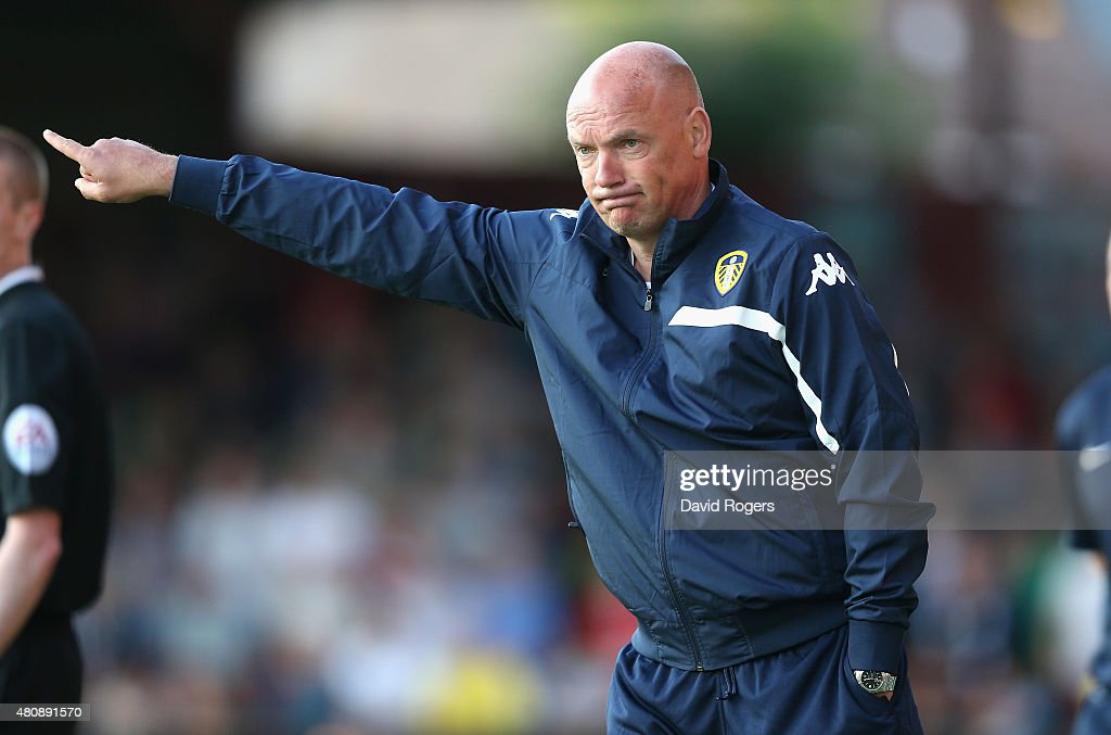 Uwe Rosler, the Leeds United manager issues instructions during the pre season friendly match between York City and Leeds United at Bootham Crescent on July 15, 2015 in York, England.