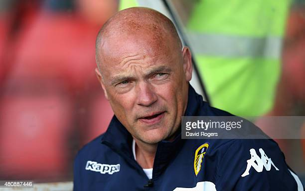 Uwe Rosler the Leeds United manager looks on during the pre season friendly match between York City and Leeds United at Bootham Crescent on July 15...