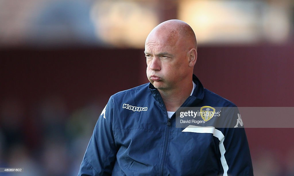 Uwe Rosler, the Leeds United manager looks on during the pre season friendly match between York City and Leeds United at Bootham Crescent on July 15, 2015 in York, England.