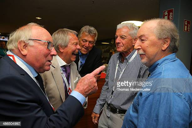 Uwe Seeler Horst Trimhold Kurt Kluespiess Erich Ribbeck and Juergen Grabowski members of the Club of Former National Players are seen prior to the...