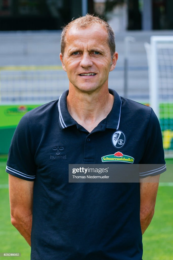 Uwe Vetter, physiotherapist of SC Freiburg poses during the team presentation at Schwarzwald-Stadion on August 1, 2017 in Freiburg im Breisgau, Germany.