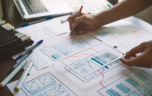 ux Graphic designer creative  sketch planning application process development prototype wireframe for web mobile phone . User experience concept. 1164721436