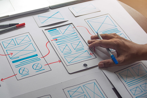 ux Graphic designer creative  sketch planning application process development prototype wireframe for web mobile phone . User experience concept. 1169087529