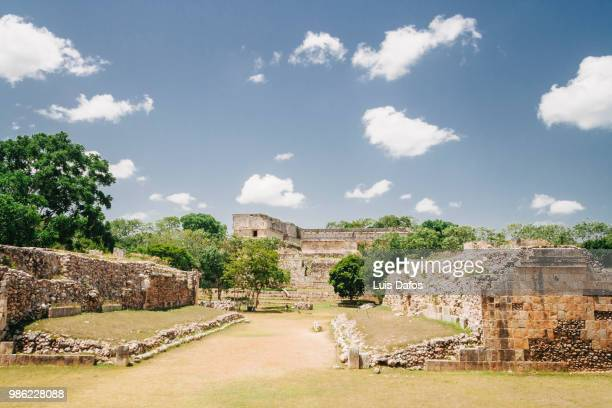 uxmal, ball game court - merida mexico stock photos and pictures