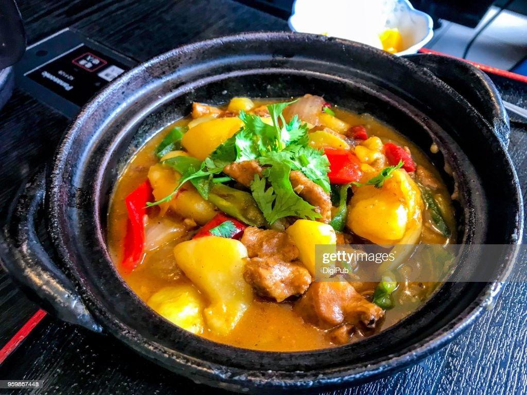 Uyghur dish  'dapanji' spicy hot chicken stew (Xinjiang cuisine) : Stock-Foto