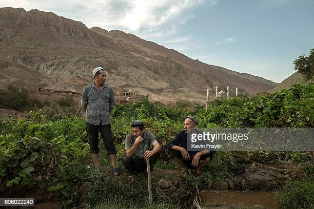 Uyghur take a rest from working in their fields before the Corban festival on September 9 2016 in Turpan County in the far western Xinjiang province...