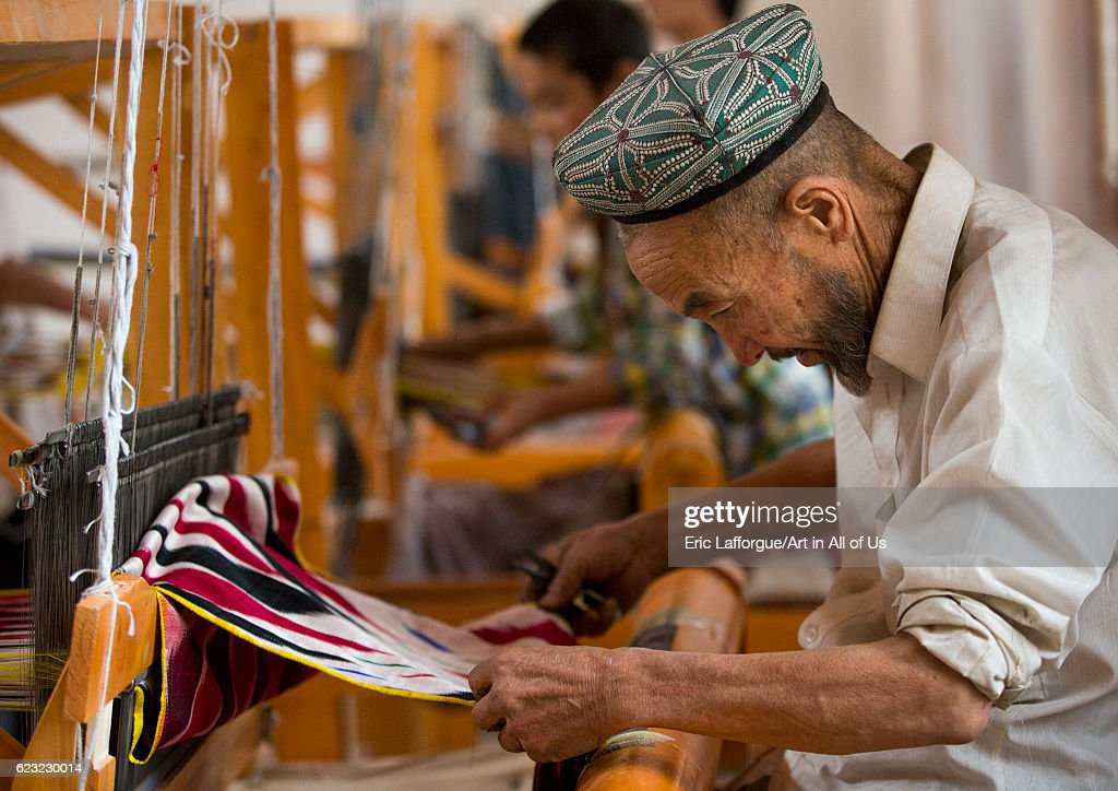 Uyghur worker in a silk factory, Hotan, Xinjiang Uyghur Autonomous Region, China... : News Photo