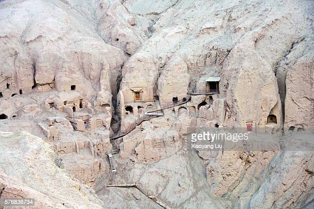 uygur cliff village in shanshan county - cliff dwelling stock pictures, royalty-free photos & images