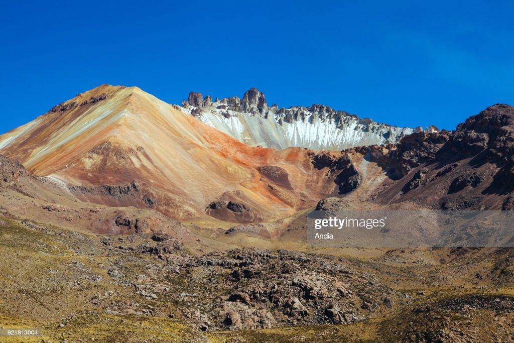 on the edge of the salt flat Salar d'Uyuni, the Tunupa Volcano reachable from the village of Tahua.