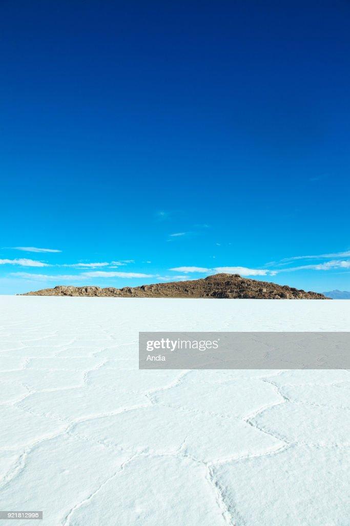 salt flat Salar de Uyuni and former island Isla Incahuasi (Inkawasi or Inka Wasi).