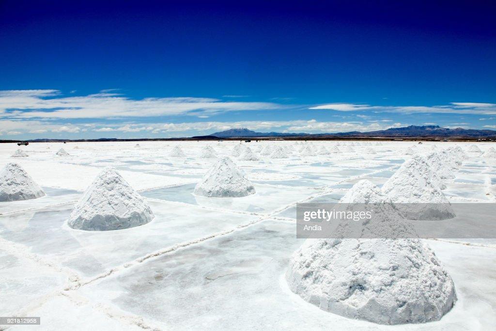 salt flat Salar de Uyuni, salt heap.