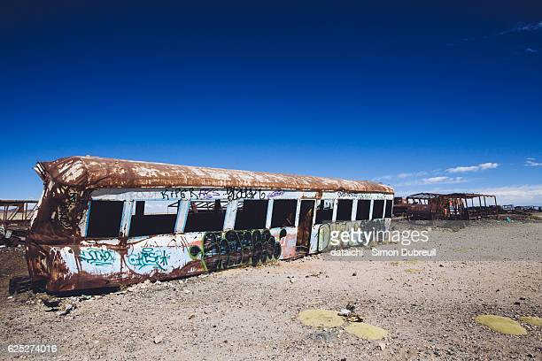 uyuni abandoned trains - train graffiti stock photos and pictures