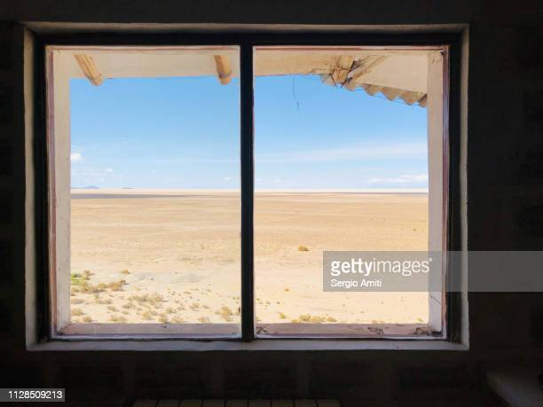 Uyuni Salt Flats through a window frame