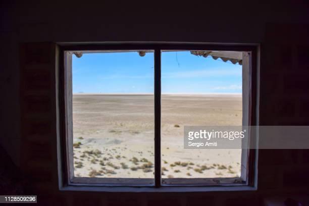 Uyuni Salt Flats through a window frame