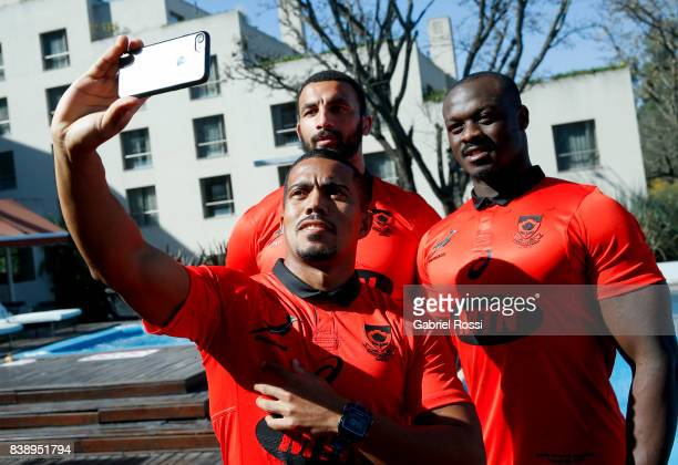 Uzair Cassiem Raymond Rhule and Curwin Bosch take a selfie during South Africa Rugby Championship Official Photo at Sheraton Salta Hotel on August 25...