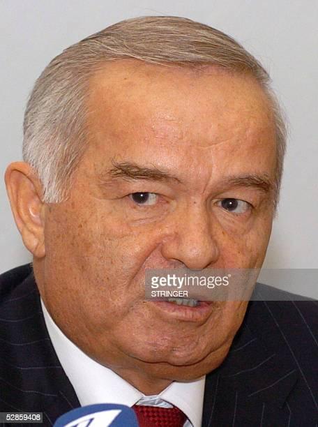 Uzbek President Islam Karimov addresses the media during a press conference at the Prosecutor General's office in Tashkent 17 May 2005 Uzbekistan's...