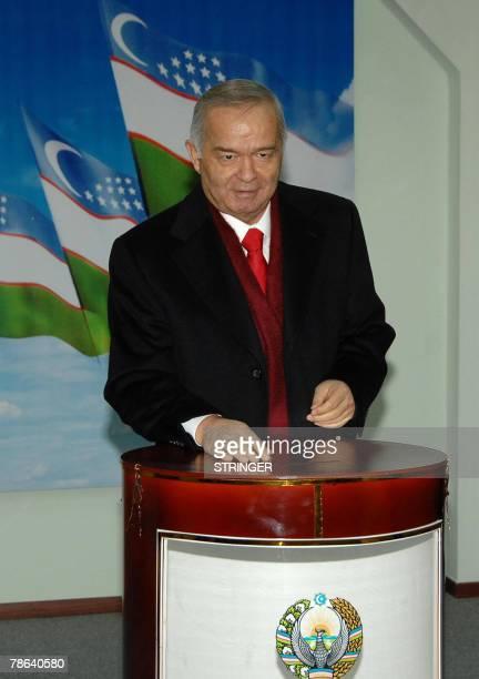 Uzbek President Islam Karimov casts his ballot at a polling station in Tashkent 23 December 2007 Uzbekistan voted Sunday in an election where...