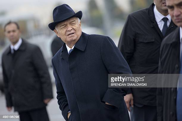 Uzbek President Islam Karimov looks on after greeting US Secretary of State John Kerry at Samarkand Airport on November 1 2015 in Samarkand Kerry is...