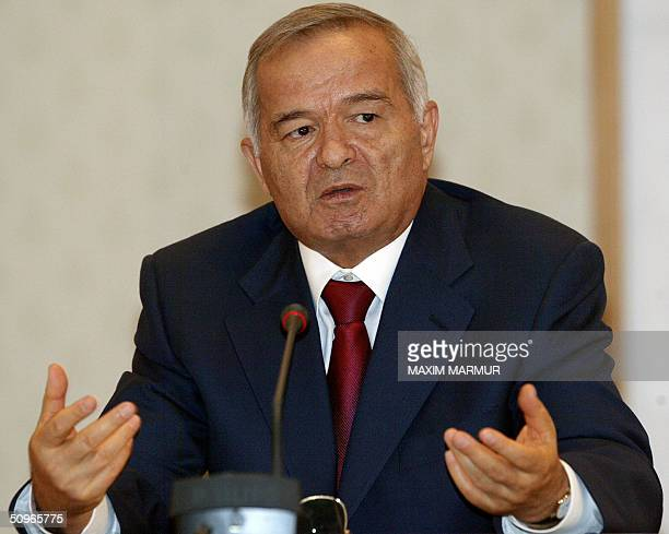 Uzbek President Islam Karimov speaks to the media at the Presidential Residence in Tashkent 16 June 2004 Putin and Karimov wll be joined 17 June by...