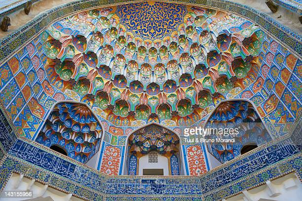 uzbekistan, bukhara, abdul aziz khan madarsah - muziek stock pictures, royalty-free photos & images