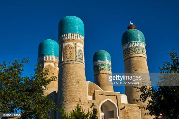 uzbekistan, bukhara, chor minor mosque - unesco stockfoto's en -beelden
