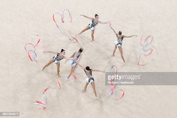 Uzbekistan compete in the Rhythmic Gymnastics Group All-Around Qualification on Day 15 of the Rio 2016 Olympic Games at the Rio Olympic Arena on...